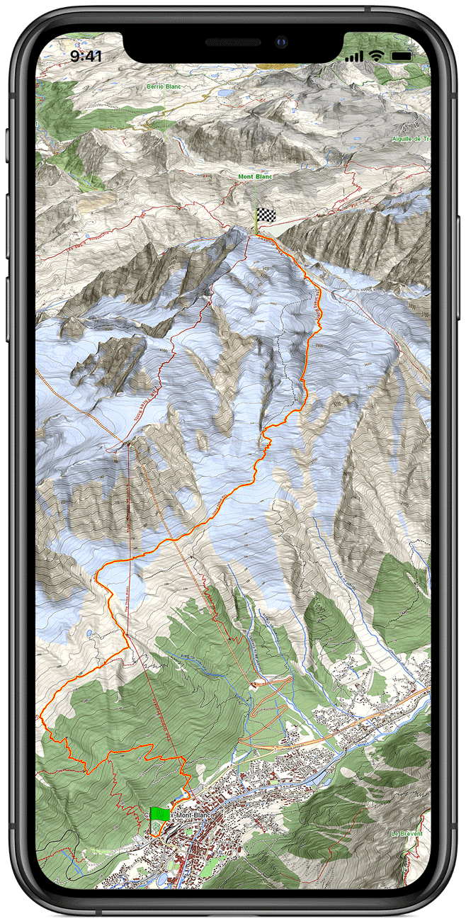 iPhone XS con gCarta Monte Bianco